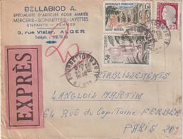 """ALGERIE : LETTRE A ENTETE . EXPRESS . """" ALGER BOURSE """" . POUR PARIS . 1962 . OBLITERATIONS AU DOS . - Covers & Documents"""