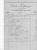 FACTURE   KAYSERSBERG 68 EMILE HALBMEYER FERBLANTERIE - Frankreich