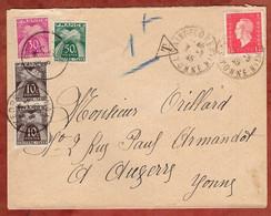 Brief, Marianne, Portomarken, Saint-Florentin Nach Auxerre 1945 (97818) - Segnatasse