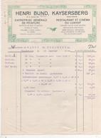 FACTURE KAYSERSBERG 68 HENRI BUND RESTAURANTET CINEMA  DU LUXHOF - Frankreich