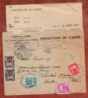 Brief Mit Inhalt, Portomarken, Laon Nach Chabris 1945 (97820) - Segnatasse