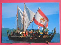 Visuel Très Peu Courant - Polynésie Française - La Grande Pirogue Double Tahiti Nui - Excellent état - Recto Verso - Polynésie Française