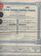 1926 -The British Sulphides-Smelting Cie - 2 Titres Au Porteur De 10 Actions Ordinaires De 1 £ - Industrie