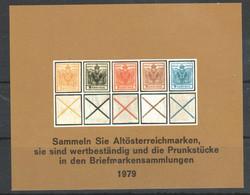 """Österreich 1979: Gedenkblatt """"Altösterreichmarken"""" Ohne Kopftext  (siehe Foto/Scan) - Blocks & Kleinbögen"""