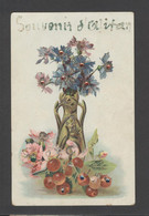 Themes Div-ref FF886-carte Fantaisie -veritables Paillettes Dorées Et Petites Perles -souvenir D Alitan ?? Alitern ??- - Ansichtskarten