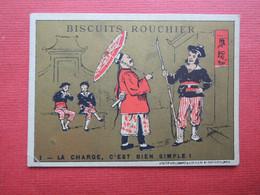 Rare CHROMO Baster & Vieillemard. Biscuits Rouchier.Chinois Chine.  Or Rouge Noir Et Blanc. La Charge C'est Bien Simple. - Zonder Classificatie