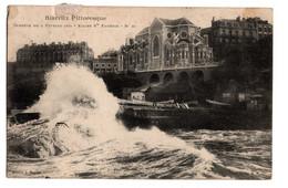 Cpa Biarritz Pittoresque Tempete Du 2 Fevrier 1904 Eglise Sainte Eugenie Circulee En 1906 - Biarritz