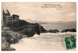 Cpa Biarritz Pittoresque Villa Belza Et Pyrenees Circulee En 1906 - Biarritz