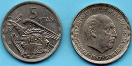 ESPAGNE - 5 Pesetas - 1957 - [ 5] 1949-… : Kingdom