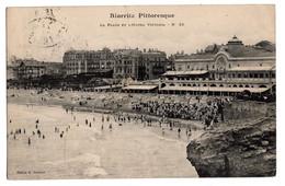 Cpa Biarritz Pittoresque La Plage Et L'hotel Victoria Circulee En 1907 - Biarritz