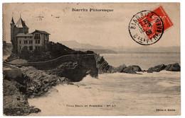 Cpa Biarritz Pittoresque Villa Belza Et Pyrenees Circulee En 1908 - Biarritz
