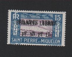 Faux Curiositée N° ?, 15 C Saint-Pierre Et Miquelon Double Surcharge Gomme Charnière - Ungebraucht