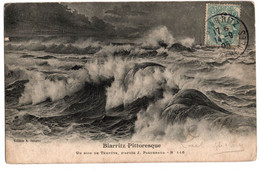 Cpa Biarritz Pittoresque Un Soir De Tempete D'apres Paguenaud Circulee En 1905 - Biarritz