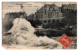 Cpa Biarritz Pittoresque Tempete Du 2 Fevrier Eglise Sainte Eugenie Circulee En 1911 - Biarritz