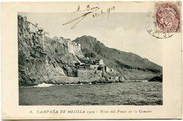 ESPAGNE CARTE POSTALE -CAMPANA DE MELILLA 1909 -VISTA DEL PENON DE LA GOMERA AVEC AFFR. TYPE BLANC DE FRANCE OBL. 1911 - Brieven En Documenten