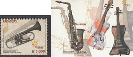 Paraguay 2015, Music Instruments, MNH S/S And Single Stamp - Paraguay
