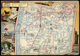 Cpsm  Paris 15e  Carte Illustrée Du Plan De L'arrondissement - Arrondissement: 15