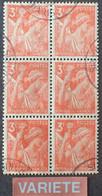 R1098/1 - 1944 - TYPE IRIS - N°655 BLOC ☉ - VARIETE ➤➤➤ Teinte Dégradée De Bas En Haut - Variétés: 1941-44 Oblitérés