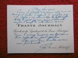 CDV AUTOGRAPHE FRANTZ JOURDAIN ARCHITECTE CRITIQUE D ART - Autogramme & Autographen
