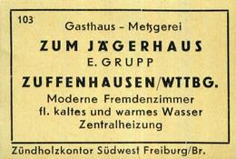 1 Altes Gasthausetikett, Gasthaus – Metzgerei Zum Jägerhaus, E. Grupp, Zuffenhausen/Wttbg. #1012 - Matchbox Labels