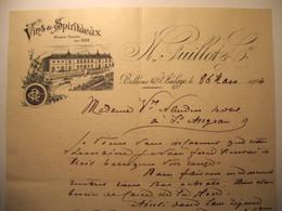 Z081 - Facture De 1904 - VINS ET SPIRITUEUX GUILLOT à BELLEVUE-ST-AULAYE Dordogne - Chateau - Frankreich