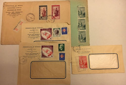 LOT DE 5 ENVELOPPES OBLITEREES AU TOTAL 12 TIMBRES INTACTS Dont 2 Timbres Mariage RAINIER 1950 - Postmarks