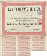 Titre Ancien - Les Tramways De Kiew -  Société Anonyme Belge - Titre De 1905 - Railway & Tramway