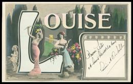 LOUISE - 2 Femmes Dans La Lettre L Et Prénom - Fillette - Cithare - 1905 - Firstnames