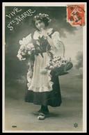 Cp Glacée - Vive Ste MARIE - Femme Avec Fleurs Dans Les Cheveux Et Panier En Sabots De Bois - Roses - Edit. P.C. - 1908 - Firstnames