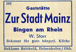 1 Altes Gasthausetikett, Gaststätte Zur Stadt Mainz, W. Storr, Bingen Am Rhein #1016 - Matchbox Labels