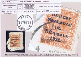 Ireland Kildare Railway 1922 Rubber Climax Dater KILL STRAFFAN STN 4 MAR.22 Part Strike On Piece With Thom Rialtas 2d - Ohne Zuordnung