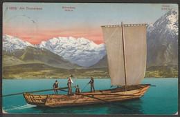 Switzerland Gwatt Am Thunersee (Bern) Boat & View Of Blumlisalp & Niesen 1916 Mailed - BE Berne