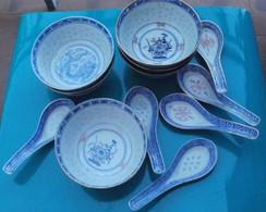 6 Bols à Riz Avec Leurs Cuillères, Porcelaine Chinoise - Autres