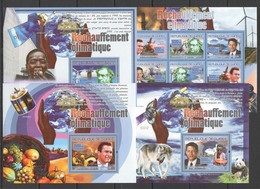 NS383 2007 GUINEE GUINEA FAUNA ANIMALS FAMOUS PEOPLE GLOBAL WARMING 1KB+3BL MNH - Protezione Dell'Ambiente & Clima