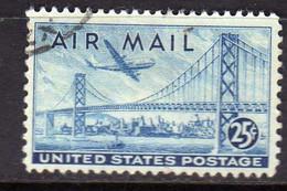 USA STATI UNITI 1947 AIR MAIL POSTA AEREA PLANE OVER SAN FRANCISCO-OAKLAND BAY BRIDGE CENT 25c USED USATO OBLITERE' - 2a. 1941-1960 Gebraucht
