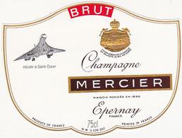 Etiquette Champagne MERCIER à Epernay / BRUT / Escale à Saint-Dizier / Avion : Concorde - Champagne