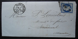 Vassy S Blaise 1856 Pc 3498 Sur N°14, Lettre De Montreuil Pour Sourdeval (Manche) - 1849-1876: Periodo Classico