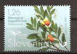 SLOVENIA 2017,EUROMED POSTAL,TREES,ARBUTUS  UNEDO,FLORA,MNH - Trees