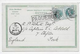 PAQUEBOT - Suez On PC Of Port Said - Used June 1901 - Marcofilie