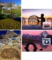 4 Maximumkarten 2019 Naturkunst Moosberger Zug / LandArt - Cartes-Maximum (CM)