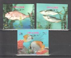 B1333 STEREO UMM AL QIWAIN FISH & MARINE LIFE 3ST MNH - Vita Acquatica