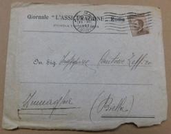 """Giornale """" L'Assicurazione """" Roma, Fondata 1884  #  Storia Postale, Lettera Del 23/12/1922 # Principe Torlonia - Otras Colecciones"""