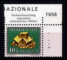 HELVETIA - Mi. 658 - Pro Patria - MNH** - Bogenrand/Bord De Feuille/Tab - (ref. TAB-9) - Pro Patria