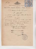 DOCUMENTO CON  QUARTINA  + 2 FRANCOBOLLI DA 50 CENT.  SEGNATASSE  USO  FISCALE . 1933 - Brieven En Documenten