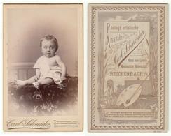 CDV Photo Foto Um 1890 - Carl Schneider, Reichenbach I/V. - Baby Im Hemdchen, Gute Rückseite - Old (before 1900)