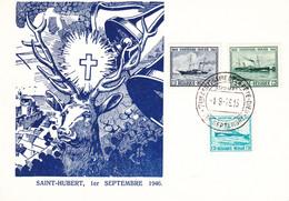 B01-190 Belgique Carte Souvenir 1-9-1946 COB 725 726 727 Ostende Douvres - Série Bateau Saint-Hubert 5€ - Cartoline Commemorative