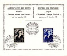 B01-190 Feuillet Souvenir Cob 456 Herdenkingsblad - Fondation Musicale Reine Elisabeth - Avec Oblitération 1er Jour 15-9 - Foglietti