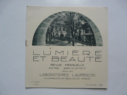 LUMIERE ET BEAUTE - REVUE MENSUELLE : Laboratoires LAURENCON 1932 - Books, Magazines, Comics