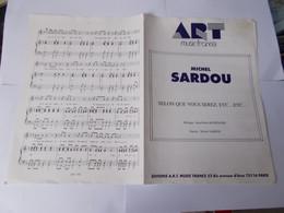 Belle Partitions 6 Pages De MICHEL SARDOU Selon Que Vous Serez, Etc... Etc... - Music & Instruments
