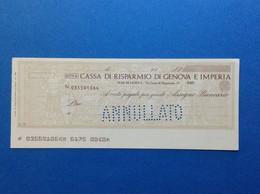 ASSEGNO BANCARIO NUOVO ANNULLATO CASSA DI RISPARMIO DI GENOVA E IMPERIA - Cheques & Traverler's Cheques